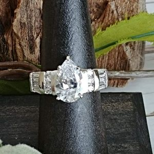 Pear & Baguette CZ Sterling Ring